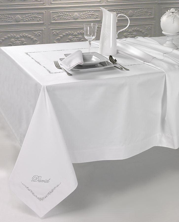Servizio tavola da 12 raso pesante con swarovski miro moderne e luxury centro corredi grillo - Tovaglie da tavola eleganti moderne ...