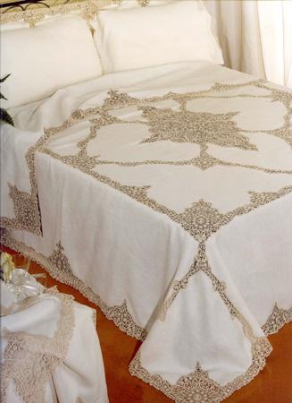 Copriletto e lenzuolo in puro lino con pizzo cant rosalin - Copriletto lino ...