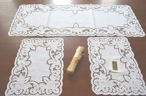 Tris centri intaglio lino Bellora colore bianco Accessori Casa ...