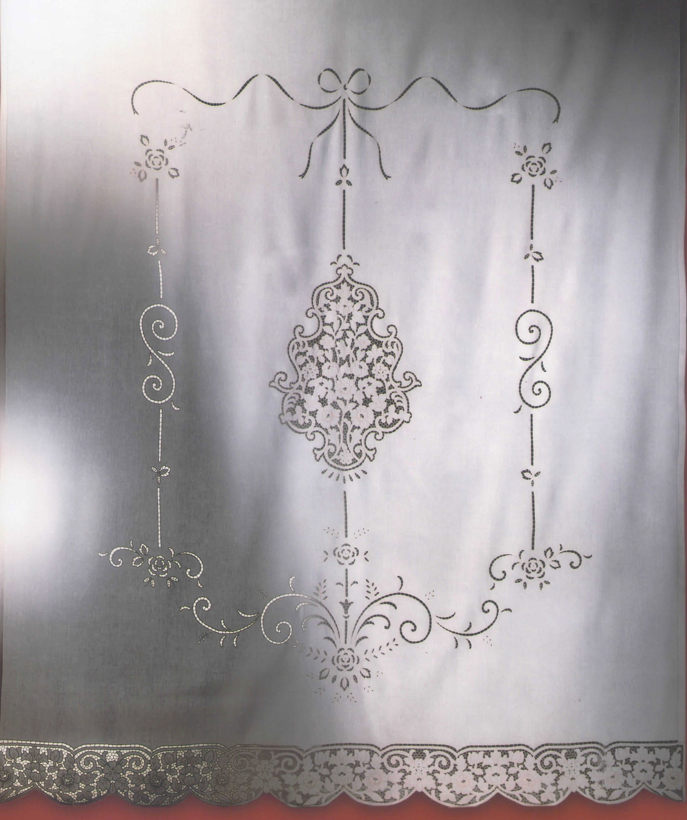 Tende Ricamate A Punto Antico.Pannello Tenda Duchessa Intaglio Puro Lino Colore Ecru