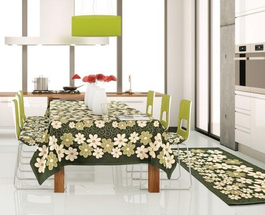 Copri Tavolo Da Cucina.Copritavolo Margherite Con Passatoia Cucina Coordinata Colore Verde